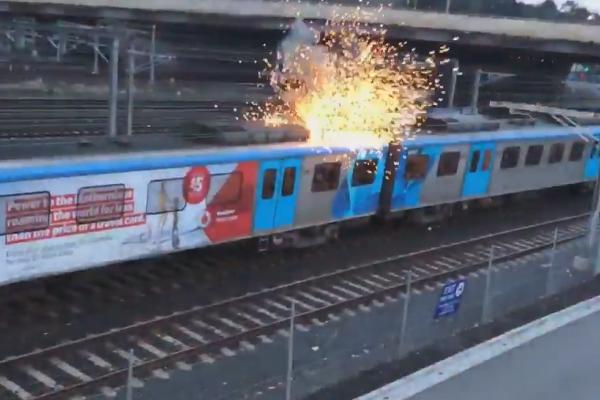 Article image for Sparks fly as trains grind to halt