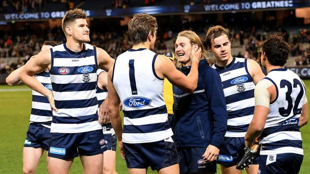 Article image for Geelong defender pretends to be sick in bizarre joke…