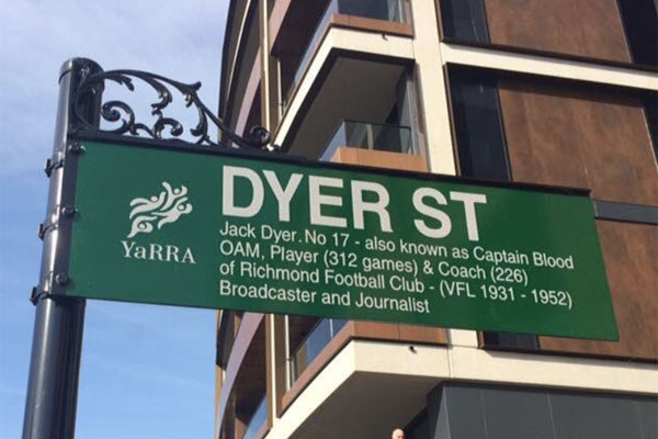 Article image for Richmond street sign named for Tigers legend Jack Dyer taken down