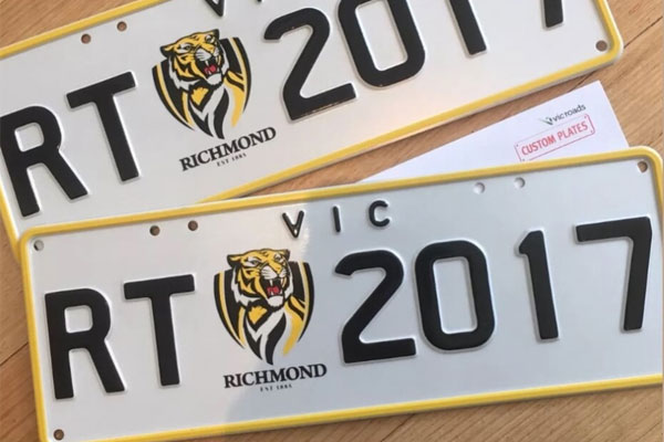 Article image for Footy fan to auction Richmond licence plates for charity