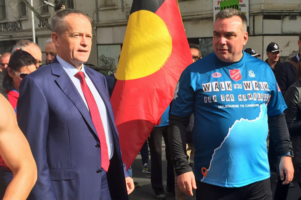 Article image for Neil Mitchell waves the flag on Brendan Nottle walking the walk for homeless