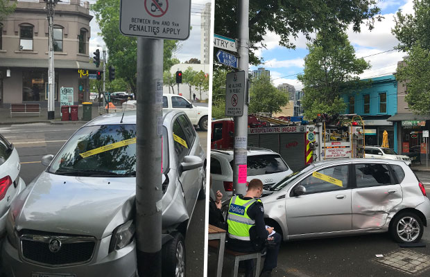 Article image for Car slams into pole, narrowly missing South Melbourne pub