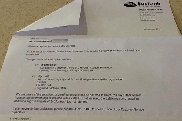 Article image for Widow 'perplexed' over Eastlink letter to send in e-TAG or cop a $40 fine