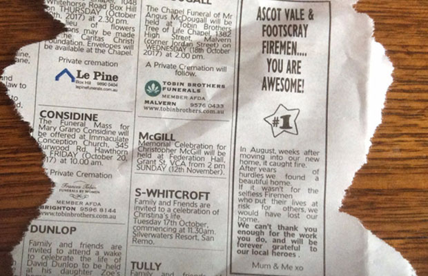 Article image for Woman explains why she wrote a 'thank you' note in the paper