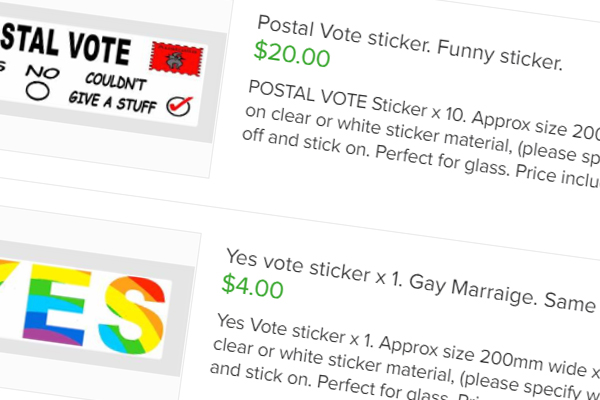 Article image for 'No' vote stickers banned from Gumtree