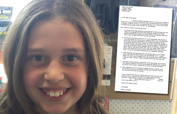 Article image for Young girl concerned by gambling commercials writes to Daniel Andrews