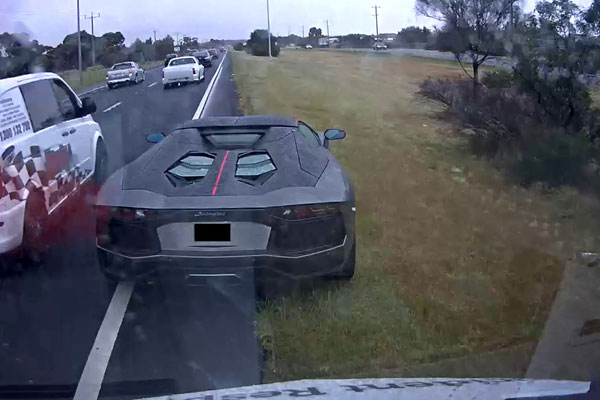 Article image for Luckless locked-in Lamborghini driver catches attention on the Calder