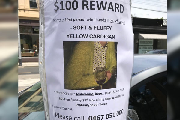 Article image for $100 reward for beloved 'soft, fluffy cardigan' lost in Prahran