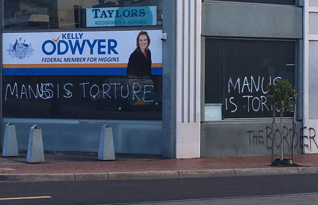 Article image for Liberal MP hits back at graffiti vandals supporting asylum seekers