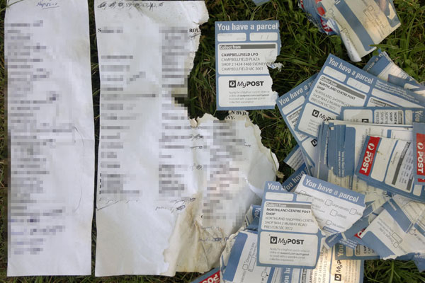 Article image for Postal slips and customer information left on a nature strip in Melbourne's north-east
