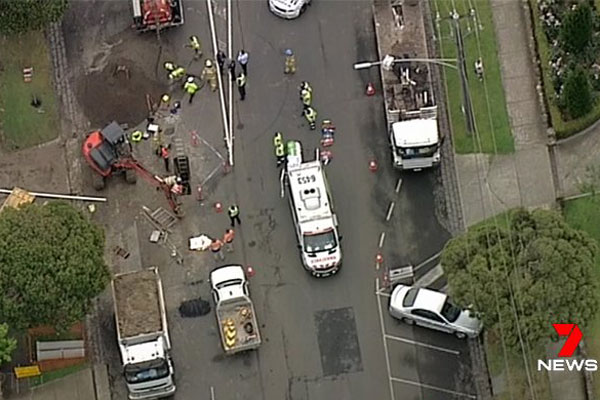 Article image for Man freed after dramatic trench rescue in Essendon