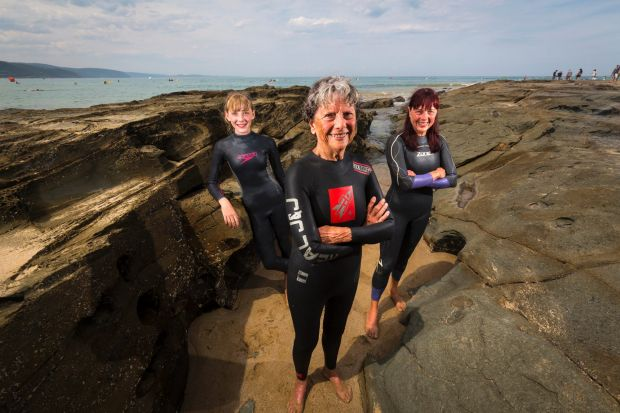 Dorothy Dickey, the oldest swimmer taking part in the Lorne Pier to Pub