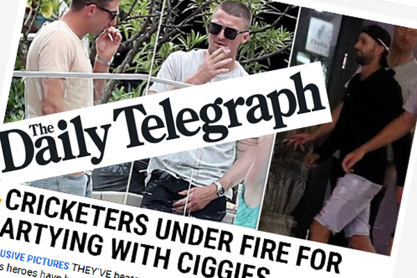 Article image for Cricketers slammed for smoking in Ashes celebrations