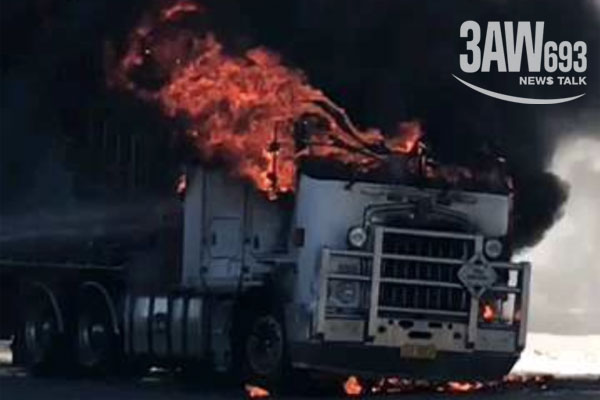 Article image for Truck catches fire dangerously close to service station in Melbourne's west