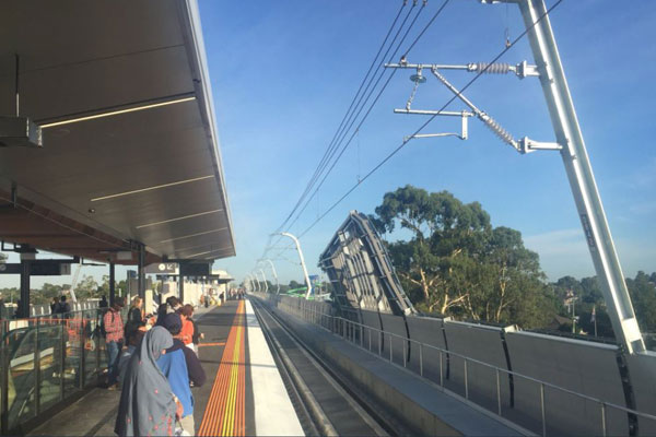 Article image for Passengers take their first ride on the sky rail at new Noble Park station