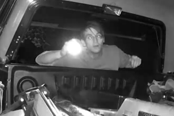 Article image for Video: Man rifles through tradie's ute, steals his tools