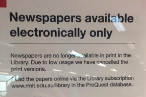 Article image for 'A sign of the times': RMIT library abandons print newspapers