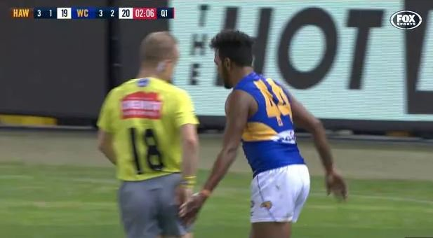Article image for Willie Rioli fined for umpire bum tap, but Jake Carlisle cops suspension