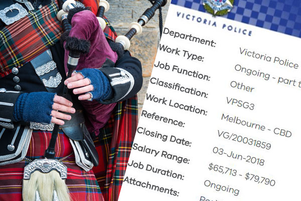 Article image for Calling all bagpipers: there's a job for you in the Victoria Police Pipe Band