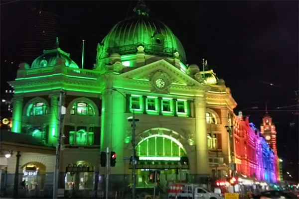 Article image for Flinders Street Station's mystery middle of the night light show