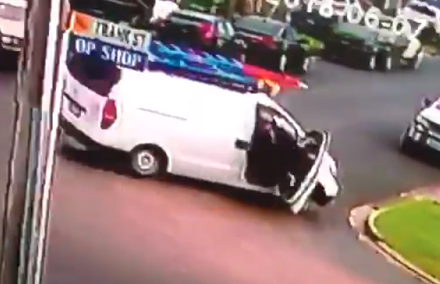 Article image for Video: Tradie pins down would-be thief who took off in his van