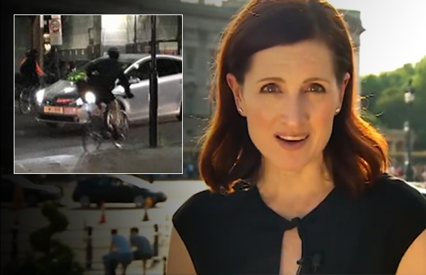 Article image for 'He's got a gun!': Armed cyclists steal camera from TV crew, ride away