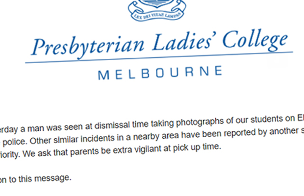 Article image for Parents warned about man taking photos of young girls at school