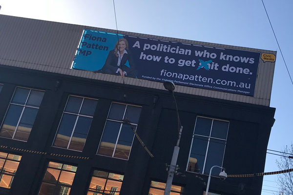 Article image for Is there anything wrong with this? Fiona Patten says billboard slogan a bit of fun