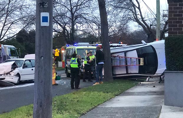 Article image for Car flips in crash in Melbourne's east