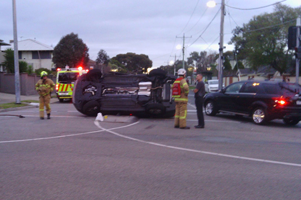 Article image for Car flips in Hampton East smash