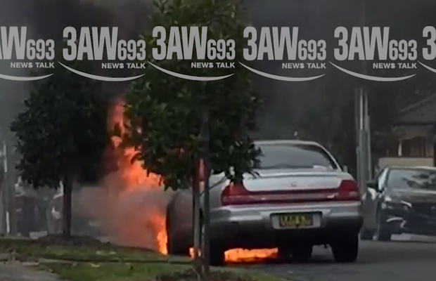 Article image for Dramatic scenes as car catches fire in Blackburn South
