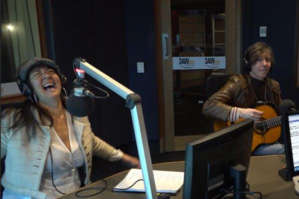 Linda Bull performs in studio with Denis Walter