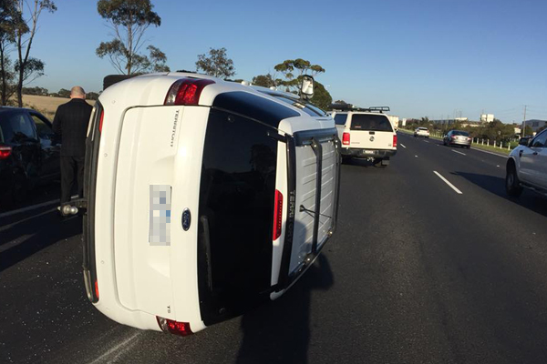 Article image for Massive morning peak delays after rollover on Princes Freeway