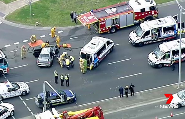 Article image for Two hurt after truck and car collide at Springvale
