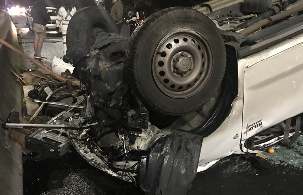 Article image for Ute flips to wrong side of the Eastern Freeway, lanes closed