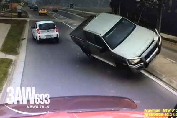 Article image for Shocking dashcam footage captures the moment airborne ute slams into truck