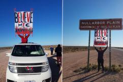 Van full of die-hard Dees fans make the long journey across the Nullarbor