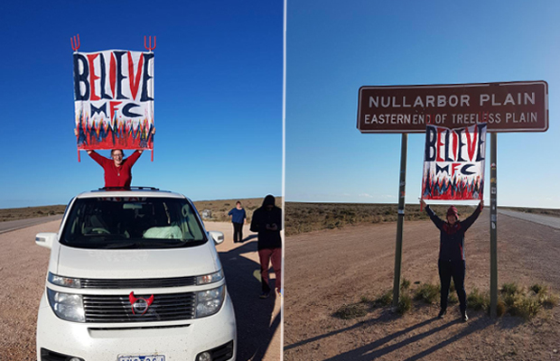 Article image for Van full of die-hard Dees fans make the long journey across the Nullarbor
