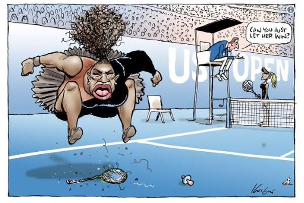 "Article image for Cartoonist Mark Knight internationally slammed as ""racist"" for Serena Williams sketch"