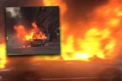 """Massive"" explosion, car bursts into flames at St Kilda"