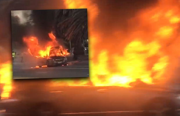 """Article image for """"Massive"""" explosion, car bursts into flames at St Kilda"""