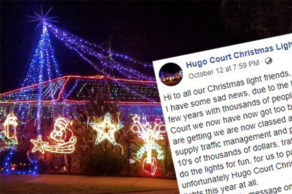 Article image for Popular Christmas lights display in Melbourne's south-east called off