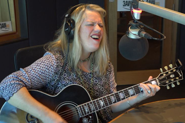 Rebecca Barnard performs 'Slip slidin' away' in the studio
