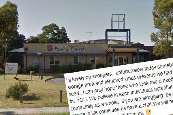 Article image for 'Rotten' thieves steal Christmas gifts from Salvos church donated for local kids