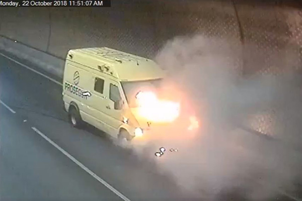 Article image for Incredible footage shows the moment van catches fire in Burnley Tunnel
