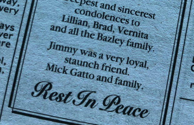 Article image for Mick Gatto leaves newspaper message to family of dead hitman, James Bazley