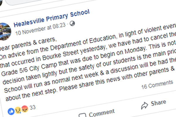 """Article image for Healesville Primary School cancels CBD excursion on """"advice from Department of Education"""""""