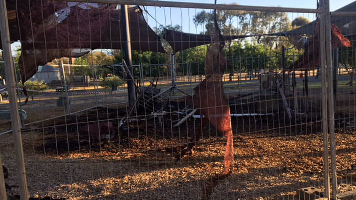 Article image for Suspicious fire guts popular playground in regional Victoria