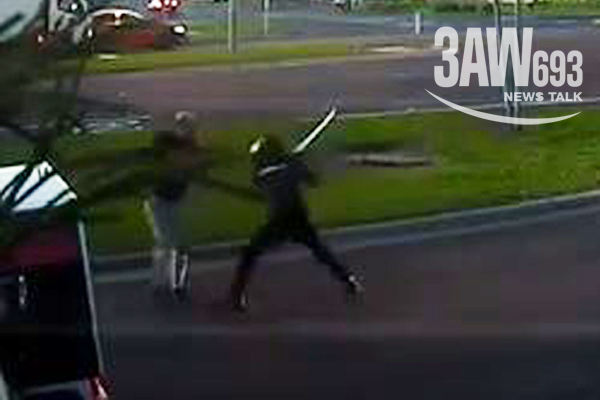 Article image for Shocking footage: Motorcyclist turns weapon on driver in Tullamarine road rage