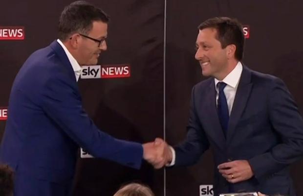 Article image for Andrews emerges narrow winner in fiery TV debate